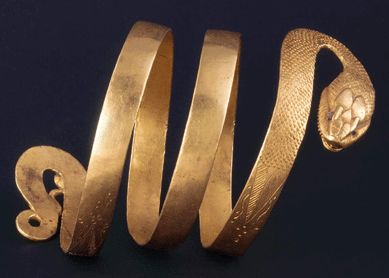 Gold bracelet in form of serpent, found in Pompeii, worn on the upper arm. The actual coolest thing