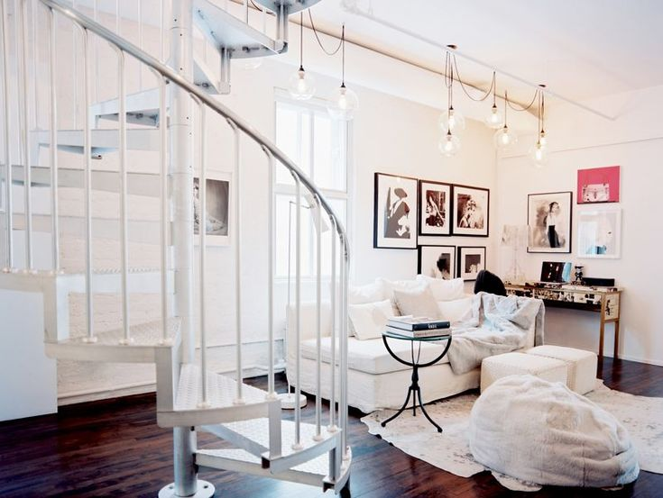 livingHanging Lights, Spirals Staircases, Stairs, Lights Fixtures, Trav'Lin Lights, Living Room, Home Decor, Spiral Staircases, White Room