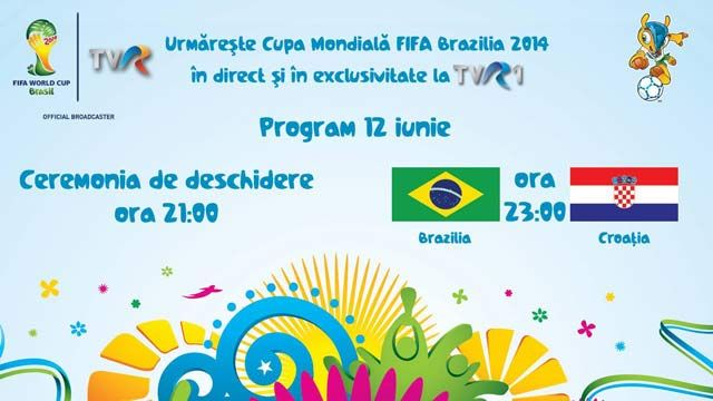 Cupa Mondiala FIFA Brazilia 2014, in direct si in exclusivitate la TVR