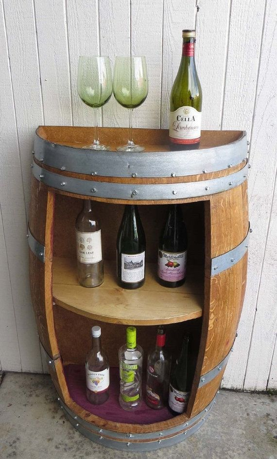 Split Barrel #Shelf handcrafted with by Mastergardenproducts #rustic #mancavedecor #bar #whiskeybarreltable