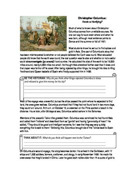 A guided reading worksheet that outlines the accomplishments and deeds of explorer Christopher Columbus. This reading deals with the not-so-nice aspect of the famed historical figure, asking students to rethink their opinions of him.
