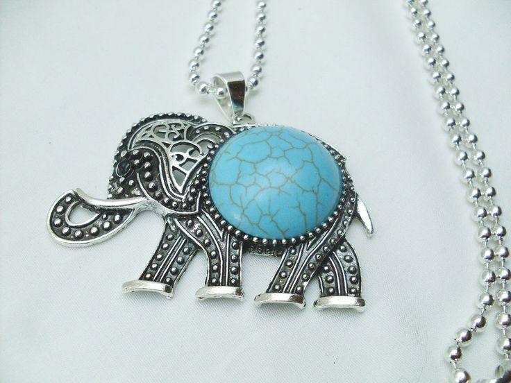 Collana Elefante Ciondolo Portafortuna Turchese, Elephant collier porte-bonheu