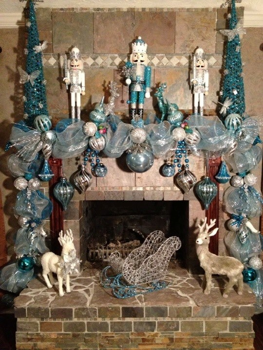 Christmas Mantle/Deco mesh Christmas Garland - made by V Williams 2012