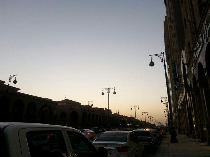 street of MADINA ..fajr prayer time ..beautiful sky # peaceful placeintheworld