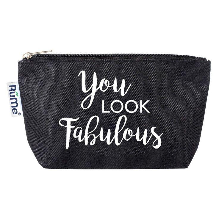 Travel Cosmetic Pouch: Encouragement Collection Black - You Look Fabulous, Black Purple