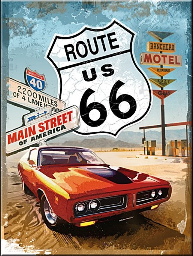 Main Street Route 66 Metal Sign Car Ride ManCave Home Bedroom Office Wall Decor