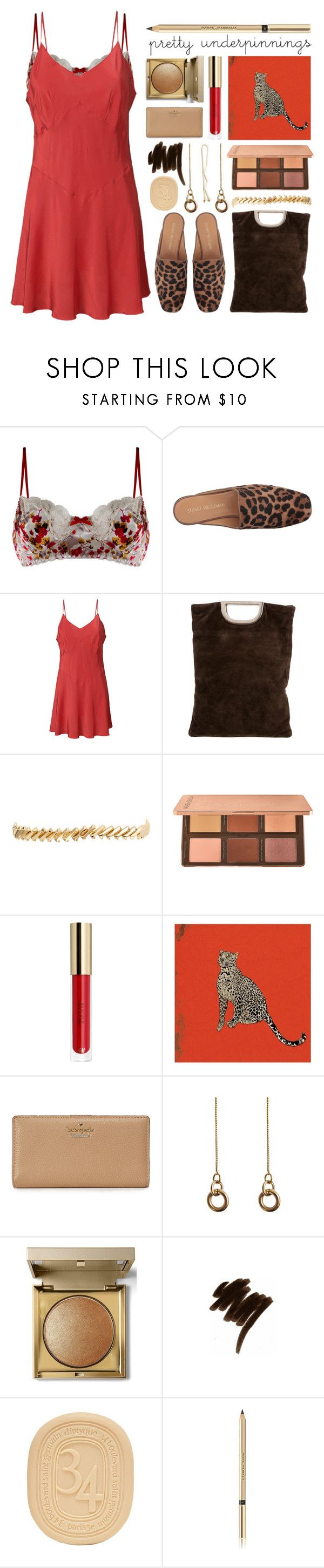 """""""pretty underneath"""" by foundlostme ❤ liked on Polyvore featuring Ayten Gasson, Stuart Weitzman, Lemaire, Eddie Borgo, Jessica Russell Flint, Kate Spade, Laura Lombardi, Stila, Lancôme and Diptyque"""