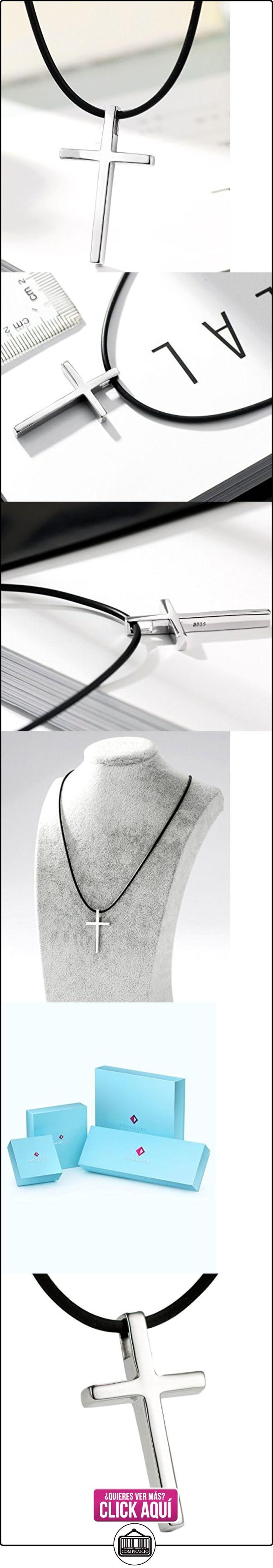 NEOGLORY Collar Colgante de Cruz Plata de Ley con Negra Cadena de Caucho Joya Regalo Hombres Mujeres  ✿ Joyas para mujer - Las mejores ofertas ✿ ▬► Ver oferta: http://comprar.io/goto/B01E9ZTQ9C