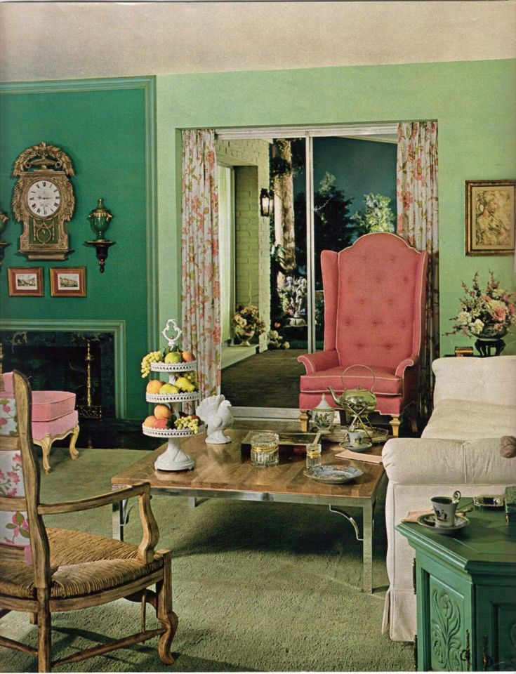 10 Color Schemes From 1968 Green Living RoomsGreen RoomsVintage