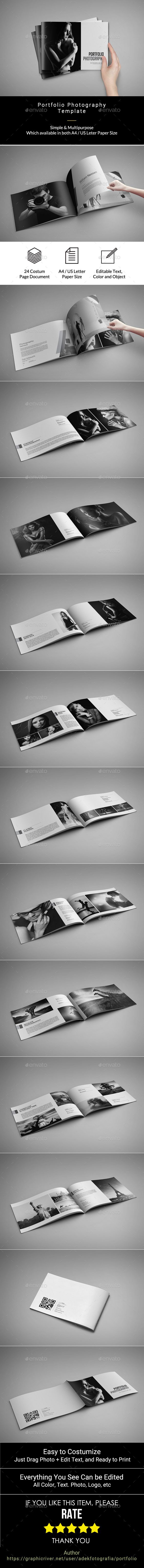 Simple Portfolio Photographer Brochure Template InDesign INDD - 24 Pages, A4 and Letter Size