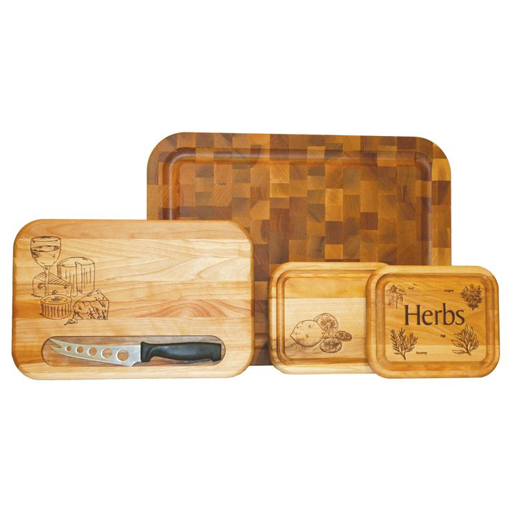 Show off your culinary skills when you prepare meals using a wooden Catskill cutting board from this four-piece set of three boards and a knife. Each board features its own special design to give onlookers something to talk about as you chop.