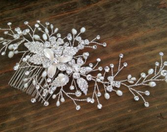 Bridal Hair comb with Fresh water pearls wedding by WEDDINGLASSOS