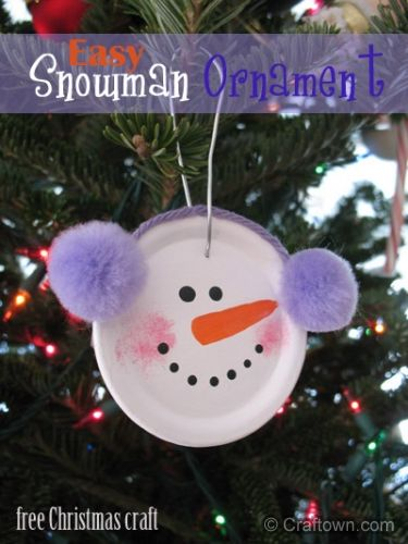 Easy Snowman Ornament ... now I can put all the leftover canning jar lids to a creative use!