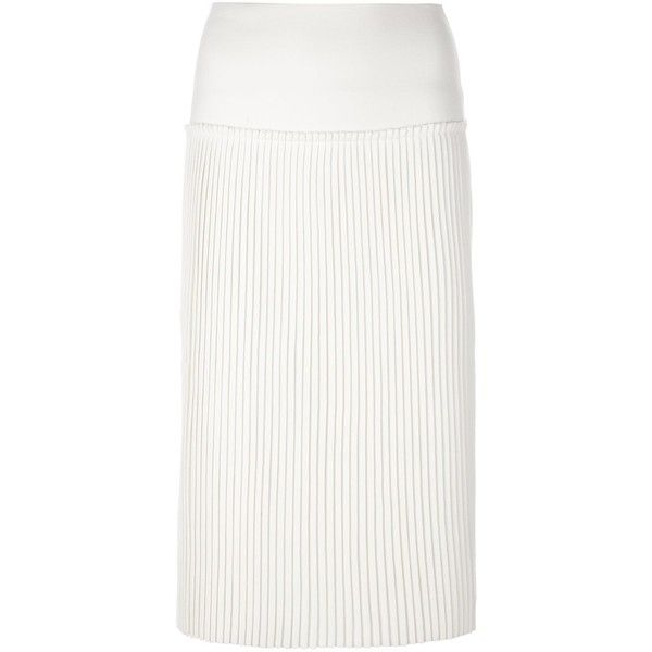 Salvatore Ferragamo Ribbed Pencil Skirt (12.370 ARS) ❤ liked on Polyvore featuring skirts, high-waisted pencil skirts, high waist knee length pencil skirt, pencil skirt, white high waisted skirt and white pencil skirt
