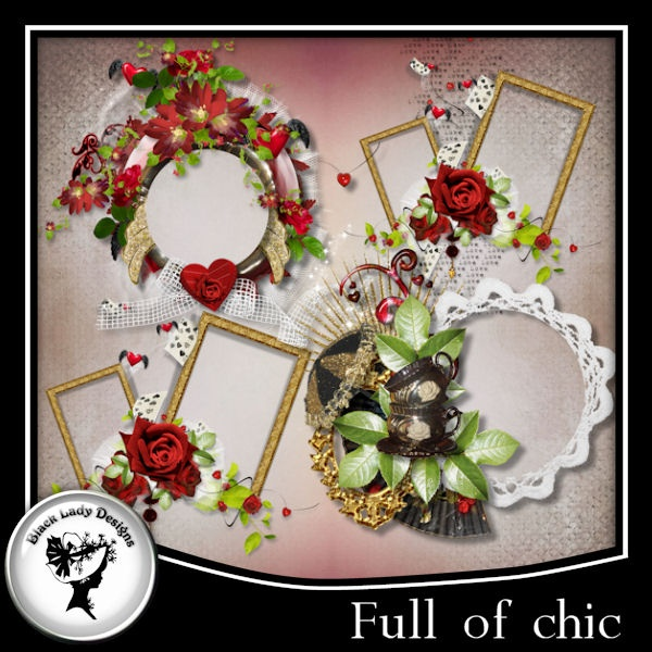 """4 frames made with my kit """"Full od chic"""". 300 dpi.    See other products with this series.    PU"""