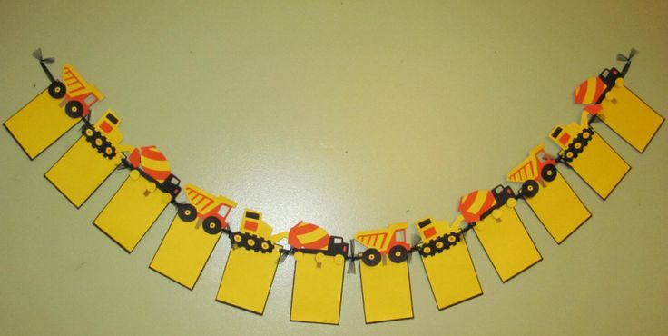 Construction Photo Banner for Birthday, First Birthday, Parties and MORE - 12 frame w/ detachable favor clips - Dump Truck by SimplyBlessedHome on Etsy https://www.etsy.com/listing/182302240/construction-photo-banner-for-birthday