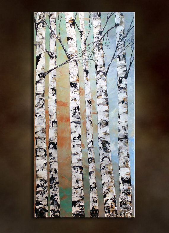 """Original Modern Large Birch Tree Painting.Palette Knife.Impasto.Landscape.Autumn Thick Painting  36"""" .. - by Nata S."""