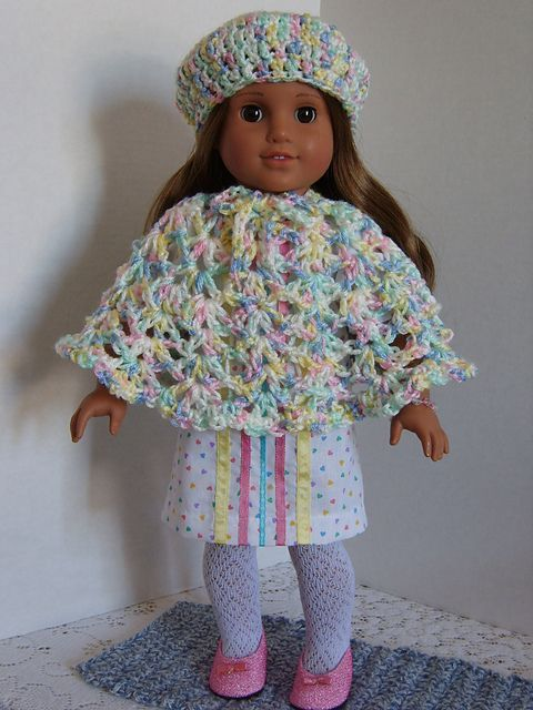 Free crochet pattern for a American Girl Doll Hat & Poncho