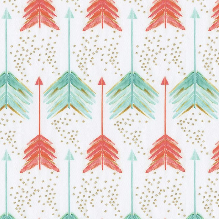 Coral and Teal Arrows Fabric by the Yard | Carousel Designs.  This beautiful cotton sateen fabric features rich vibrant shades of coral and teal with splashes of gold. A Shot in the Water by Emily Sanford is perfect for your nursery bedding.