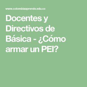 Docentes y Directivos de Básica - ¿Cómo armar un PEI?