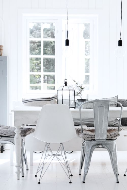 white room decor - eclectic dining