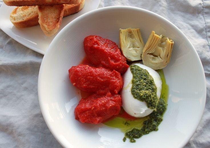 Fall friendly Caprese - fresh Mozzarella di Bufala, San Marzano tomatoes and Zara's house-made fresh basil pesto. http://zarasdeli.com/shop/mozzarella-di-bufala/