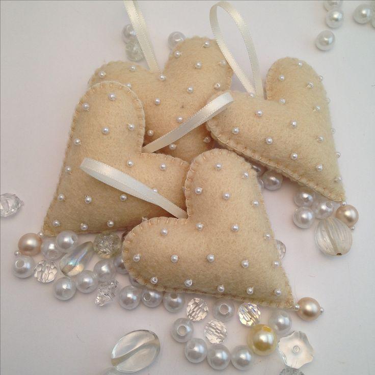 Hand stitched beaded Felt Heart Christmas ornaments