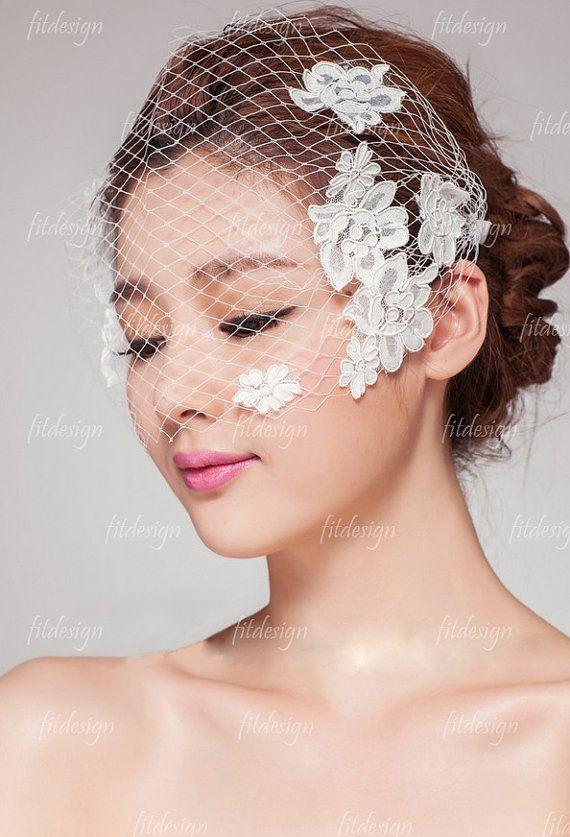 birdcage veil bridal veil lace veil lace wedding veil by fitdesign, $49.00