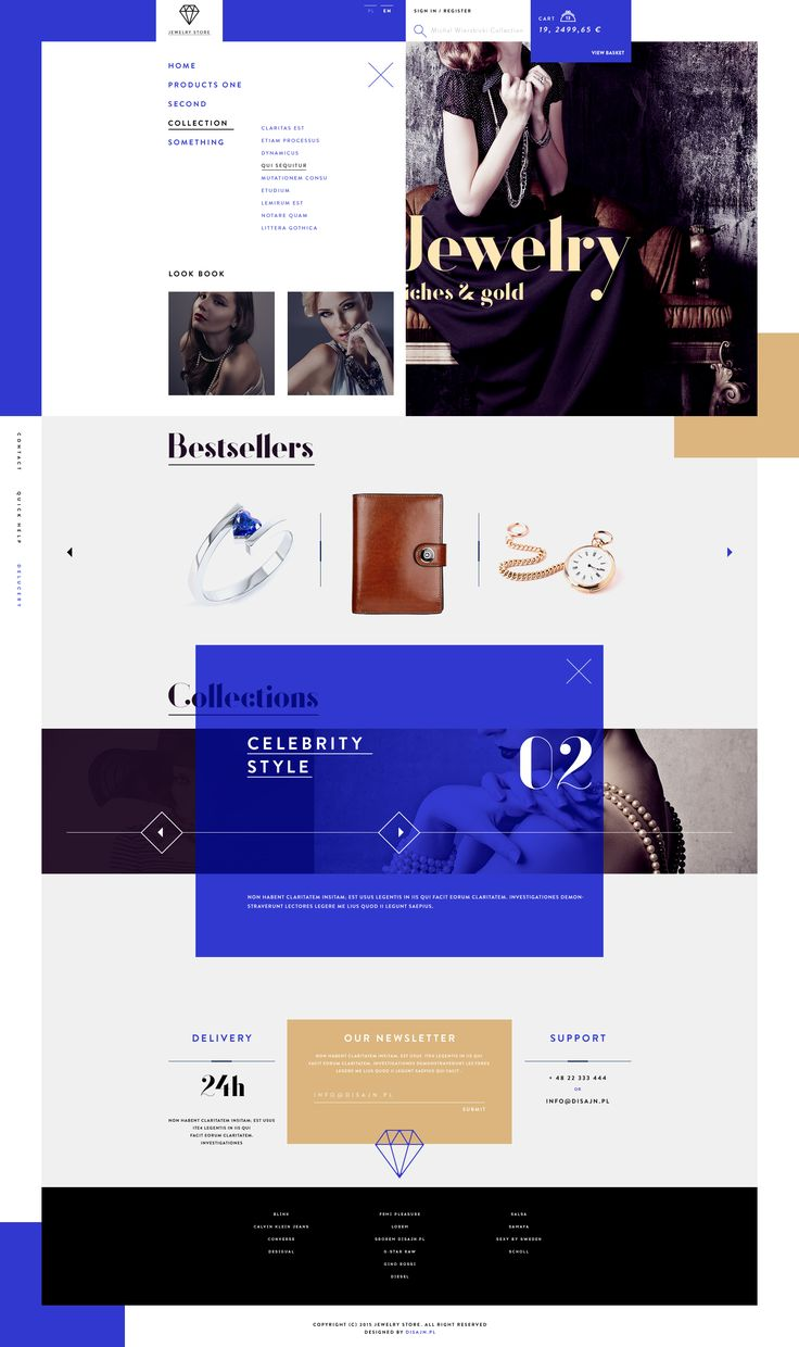 EDIT:  Project available at Behance: https://www.behance.net/gallery/23551177/JewelryStore  JewelryShop main page, menu, product card and lookbook.  More of my designs at Behance: https://www.behan...