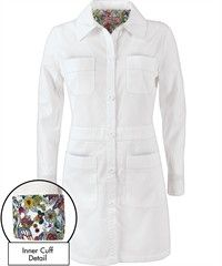 Koi Scrubs Rebecca Lab Coat...LOOOVE it. Cute flowers in sleeves:)