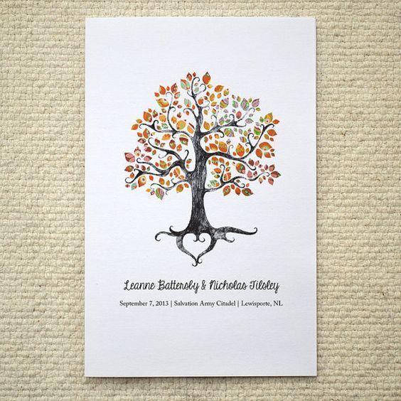 He encontrado este interesante anuncio de Etsy en https://www.etsy.com/es/listing/160664356/fall-autumn-wedding-ceremony-program
