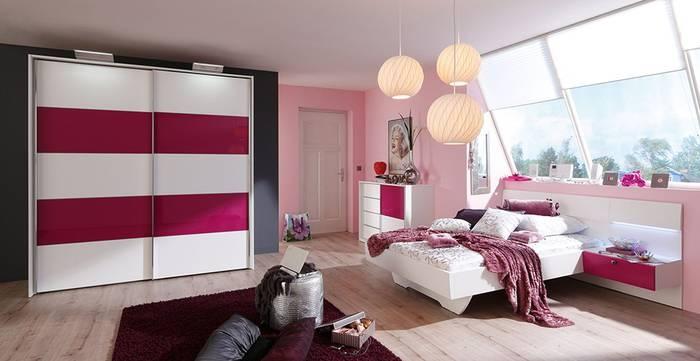 Schlafzimmer STARLIGHT GIRL in Weiß Matt und Lack Pink: Doppelbett: ca. 180 x 200 cm, Nachtschränke schwebend: ca. 56 x 21 x 44 cm, Schwebetürenschrank: 2-türig, ca. 200 x 222 x 72 cm, mit Aufbaustrahlern und Kristallband