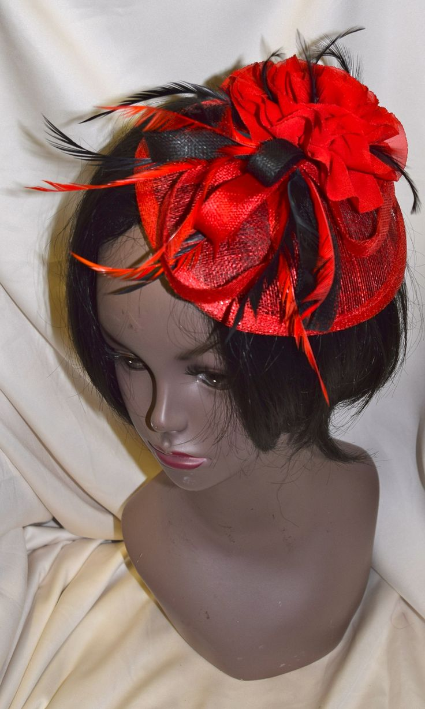 Black on Red Base Fancy Fascinator with Flower