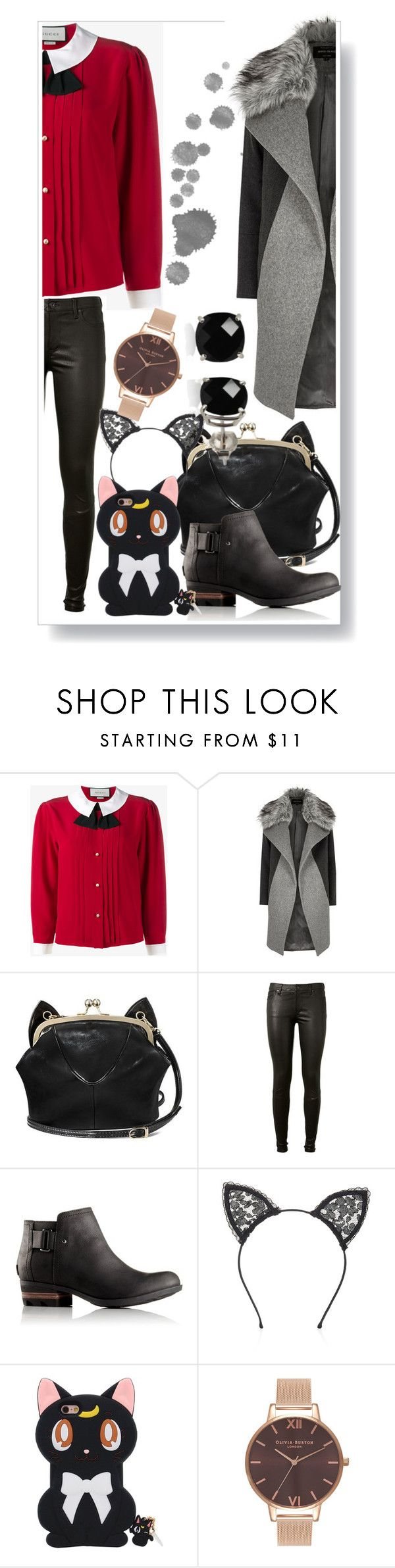 """""""work"""" by frupapp on Polyvore featuring Gucci, River Island, AG Adriano Goldschmied, SOREL, Fleur du Mal, Olivia Burton, Belk & Co., StreetStyle, school and Work"""