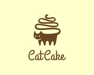 Cat Cake Logo design - Logo can be used for bakery company, cafe, restaurant, and any related business.  Logo is combination of cup cake and cat. The cat was shaped likes the cup cake.  There are two versions of the logo, the first one in a block style, and the second one in outline style.   available on brandcrowd.com  (SOLD)