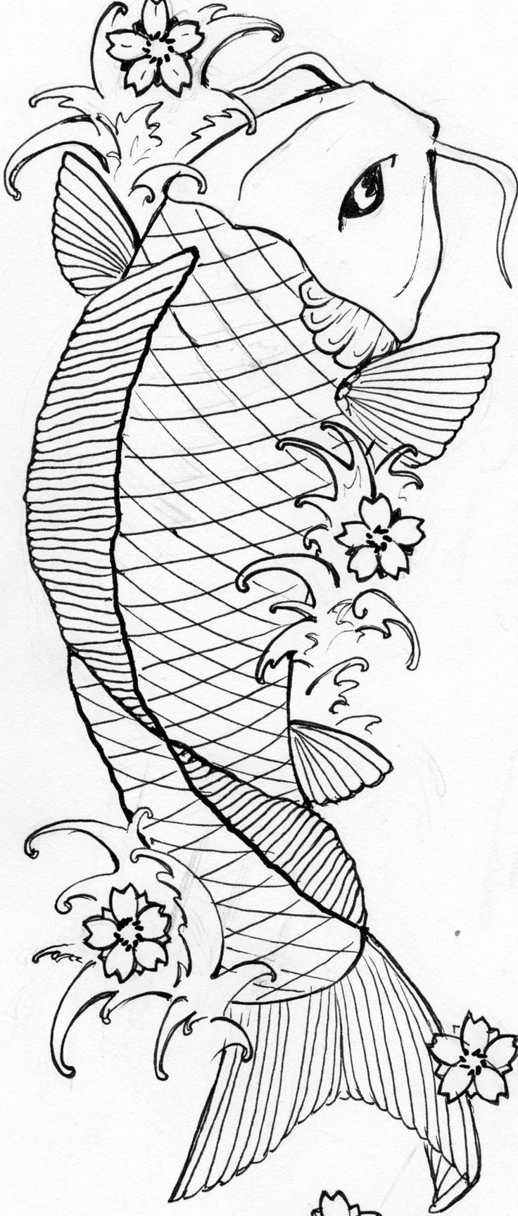 The tattoo coloring book megamunden - Color For Tranquility Koi Sketch