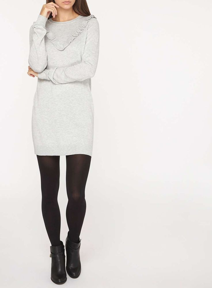 Womens **Tall Grey Frill Yoke Jumper- Grey