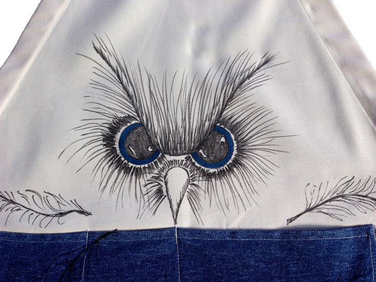 Owl apron - hand painted - close up