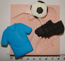 silicone mould football boot ball shirt cake cupcake boys birthday icing fimo
