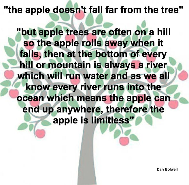 """the apple doesn't fall far from the tree"" ""but apple trees are often on a hill so the apple rolls away when it falls, then at the bottom of every hill or mountain is always a river which will run water and as we all know every river runs into the ocean which means the apple can end up anywhere, therefore the apple is limitless"""