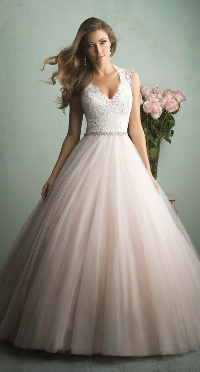 Allure Bridals Fall 2014 - blush and ivory with an illusion neckline - LOVING the neckline here! I think this might actually be flattering on me! lol