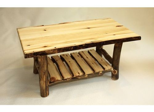 Rustic Log Coffee Table Solid Aspen Slab Wood Cabin Lodge Furniture New | eBay