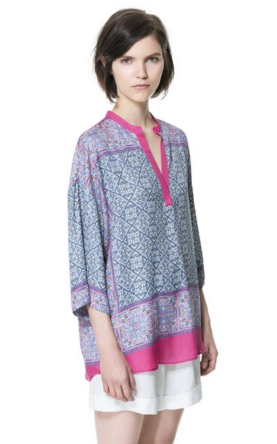 PRINTED KAFTAN from Zara - Has use of graphic print , bohemian , use of draping