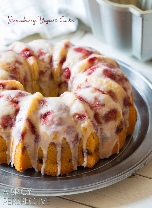 The most amazing Fresh Strawberry Yogurt Cake around. This strawberry bundt cake is a classic favorite no one can resist. In fact it's the most shared cake