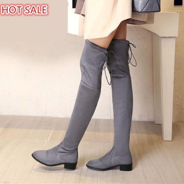 Женщины стретч Искусственные Замши тонкий над коленом сапоги сексуальный указал toe низкий каблук босоножки бедро высокие сапоги женские туфли Черный Серый обувь зимасексуальный женские ботинки зима зимние ботинки