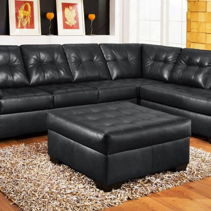 3 Piece Black Leather Sofa Set