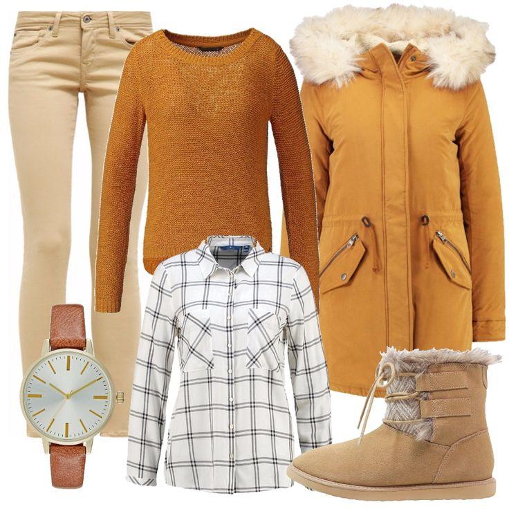 È arrivato il freddo: comodi pantaloni jeans beige chiaro, con camicia bianca con sottili quadri neri e maglione giallo senape. Per uscire un morbido piumino giallo senape, con cappuccio. Ai piedi, caldi stivaletti alla caviglia con pelo all'interno. Un orologio piccolo e discreto, con cinturino color cuoio, per completare il look.