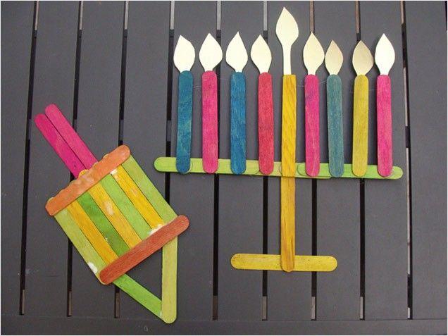Hanukkah Kids' Crafts: Popsicle Stick Hanukkah Menorahs