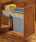Rev-A-Shelf Single 35qt. Wood Top Mount Soft-Close Waste Container (Maple/Silver Polymer)