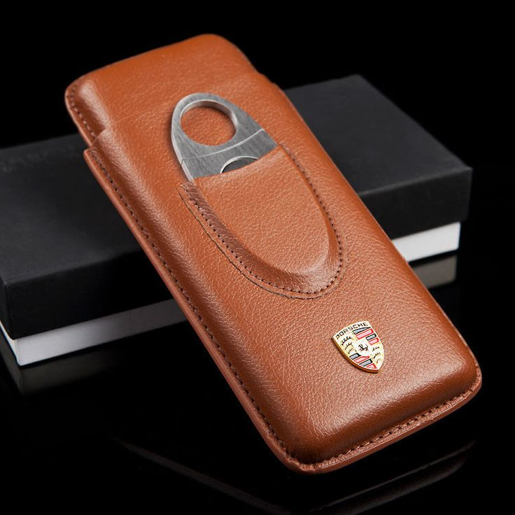 170mm*55 Brown Leather Long Size Cigar Travel Case Holder 3 Tube W/Cutter